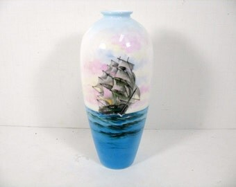 Vintage Noritake Nippon Toki Kaisha Ship Vase Bone China Sailing Ship Vase