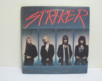 Vintage Signed Striker Album Record LP Autographed by All Four Heavy Hair Metal Rock & Roll Glam