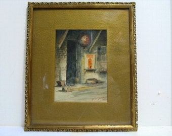 Original E.W. Currier Watercolor Painting of San Fransico China Town, 1901 Edward Wilson California Painting in Original Frame