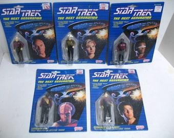 Lot of 5 Star Trek The Next Generation STNG Figures MOC Galoob 1989 Jean-Luc Tasha La Forge Worf Riker