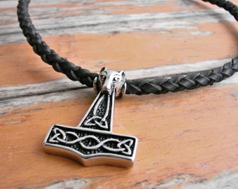 Thor's Hammer Leather Choker, Stainless Steel, Celtic knotwork
