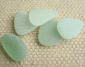 5 Sea Glass Gems (SG1919) Pendant size, Oval, Triangle and Tear Drops, Seafoam Blue Green Mediterranean Sea glass, Beach Glass