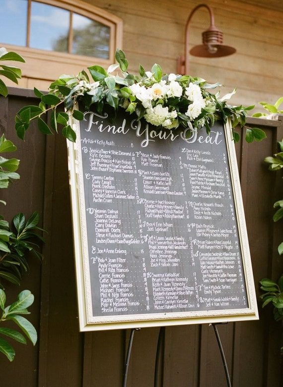 Custom Wedding Seating Chart. Escort Board Personalized