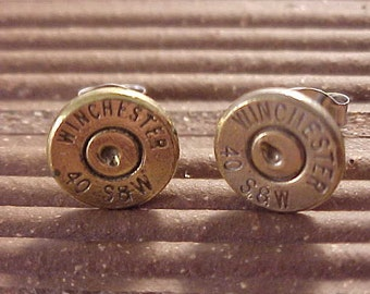 Bullet Earrings Winchester 40 Caliber Smith & Wesson Brass Handgun Shell - Free Shipping to USA