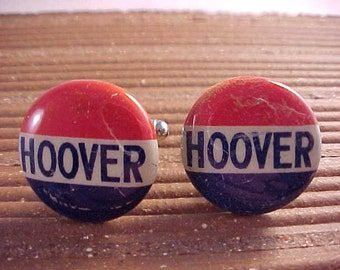 Political Cuff Links Hoover Campaign Button - Free Shipping to USA