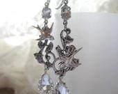 Swallow Earrings, Silver Bird Earrings, Rhinestone Earrings, Silver Ivy Earrings, Leaf Earrings, Handmade Weddings, Special Occasion Jewelry