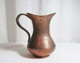 Old Hammered Copper Water Pitcher Flower Vase Jug Vessel