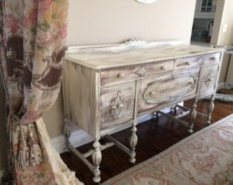 """72"""" Sideboard...  Distressed in Sage Taupe and Creme .... also a GREAT TV CONSOLE  !!!!"""