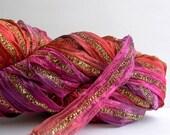 sari ribbon yarn . bollywood 3 . 1 skein 66yds 50g . louisa harding sari ribbon . pink purple copper . wide sparkle ribbon art yarn