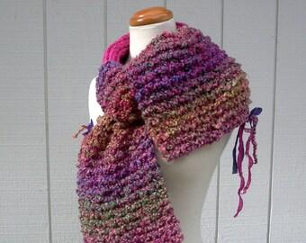dahlia. knit scarf . handknit colorful vegan friendly scarf . chunky warm cuddly scarf . flowers sparkle sari silk . hot pink violet green