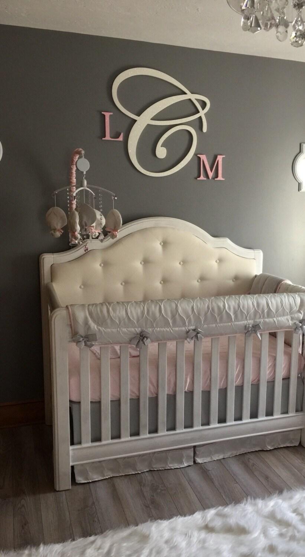 3 piece wall decor wood monogram glittered nursery decor baby
