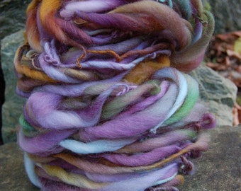 Handspun yarn, handpainted wool yarn,  wool art yarn super bulky  Titania