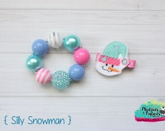 Winter baby Hair Clippie or bracelet { Silly Snowman } pink teal blue white winter Christmas snowman Hair Clip, Barette, Hair Bow No Slip