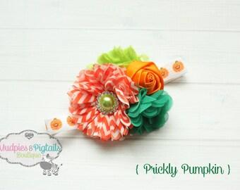 Halloween Baby headband { Prickly Pumpkin } green, orange chevron, pumpkin patch, Fall Headband, birthday cake smash photography prop