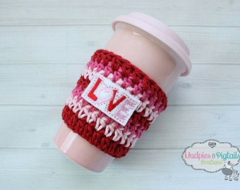 Crochet Striped Love Valentine's Day, pink, red Coffee cozies, coffee sleeve, mug sweater, tea Perfect for ceramic plastic cups, planner
