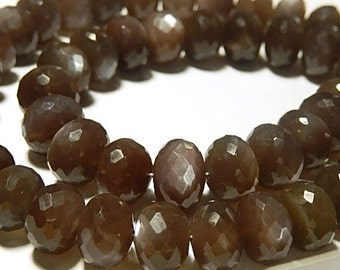 NEW Chocolate Brown Moonstone. Faceted Rondelles.  9.5x6.5mm.  Strand Your Choice. (7mnc)