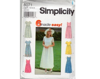 Dress Pattern Simplicity 8071 1990s High Waist Dress or Jumper  Size 12 14 16  Easy to Sew Lace Overlay, Raised Waistline, Zipper Back