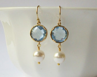 ON SALE Dusty Blue Dangle Earrings, Pearl Dangle Drop Earrings