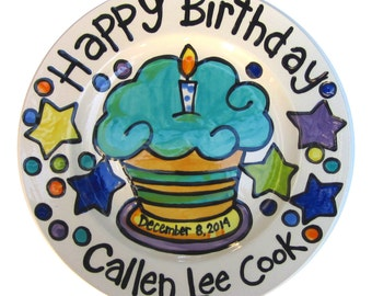"CUSTOM ceramic cupcake  7"" or 10"" Birthday Cake Plate Personalized great for TWINS"