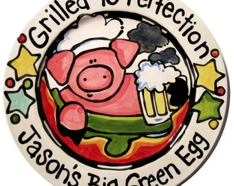 "13"" Smoker pig with a beer Grillin BBQ Family  Platter Personalized great for dad too grill food platter"