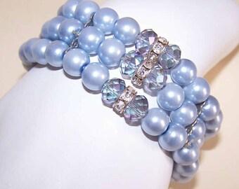 1960s Blue Pearl, Crystal & Rhinestone Bead Stretch Bracelet