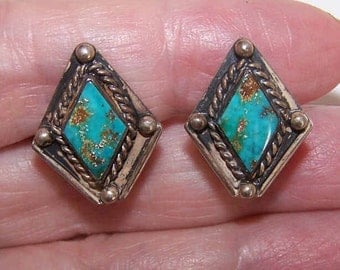 Vintage STERLING SILVER & Turquoise Native American Earrings