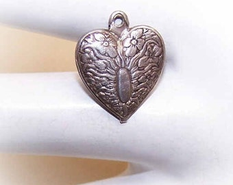 Vintage STERLING SILVER Puffy Heart Charm - Floral with Oval Panel for Engraving