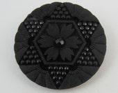 black glass antique button Victorian faux beadwork