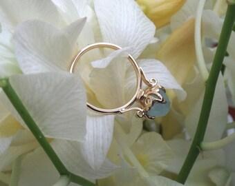 Lotus Ring, Aquamarine Ring in 18k Yellow Gold, Rose Cut Aquamarine, Made to Order