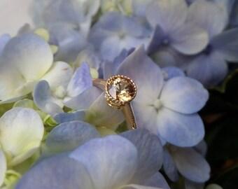 Lemon Zircon Ring, Natural Gemstone in 18k Yellow Gold Ring, Ready to Ship
