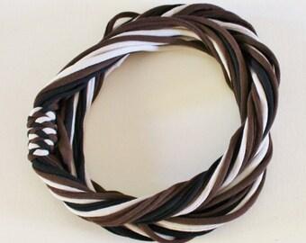 T Shirt Scarf - Infinity Circle Scarves Recycled Cotton - Black Dark Brown Chocolate Beige Tan Clay Ecru Khaki Cheetah Leopard Neutral