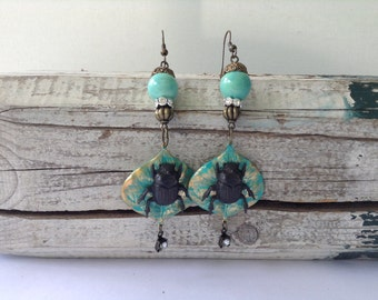 Green Leaf and Bug Drop Earrings