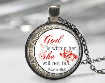 God Is With Her She Will Not Fall Glass Pendant, Inspirational Bible Verses Glass Pendant, Quotes Necklace