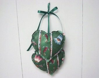 Green Heart Hangings, Valentine Hearts Wall hanging, Fabric Hearts Wall Hanging, Valentine Decorations