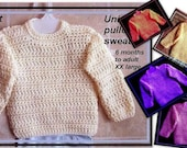 Unisex Pullover Sweater CROCHET PATTERN,  clothing, baby, toddler, children, teens, adults, number 486