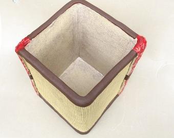 Rustic Utensil Holder Art Vase Ceramic Planter Pot Burlap Lace Caddy Square Stoneware Vessel