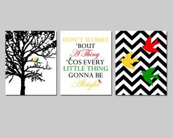 Bird Family Trio - Set of Three 8x10 Prints - Chevron Birds, Bob Marley Lyrics, Family Tree - Don't Worry 'Bout A Thing - CHOOSE YOUR COLORS