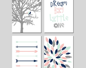 TRIBAL Arrows Baby GIRL Nursery Art Pink Mint Navy - Birds in a Tree, Dream Big Little One Quote, Abstract Floral - Set of Four 8x10 Prints