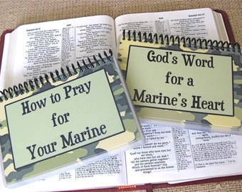 How to Pray for Your Marine/God's Word for a Marine's Heart - PERSONALIZED Combo Set, Spiral-Bound, Laminated Cards