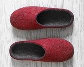 Valentine's day gift for him Natural wool slippers Rustic style felted organic wool dark grey and deep red house shoes for men Husband gift
