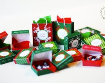 Christmas PRINTABLE PDF - 7 printable boxes and 7 printable shopping bags