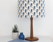 Blue and Grey Owl print Drum Lampshade Lamp Shade Lightshade