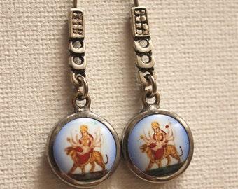 Goddess Durga Silver Dangle Earrings