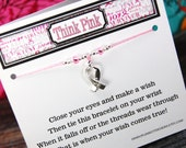 Think Pink - Style 1 - Wish Bracelet - Shown In LIGHT PINK - Over 100 Colors Available