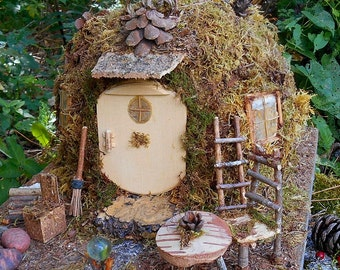 Fairy House, Enchanted Cottage, Mossy garden decor, Miniature ooak woodland Fairy House made of natural materials