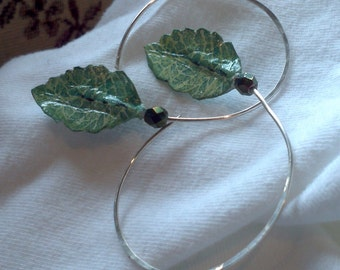 Fine Silver hoop earrings with green and gold watercolor and Washi paper leaves