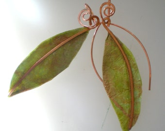 Handmade India  paper leaf and Copper dangle earrings in shades of green and gold