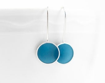 Made To Order Don't Stop Earrings hand colored resin and sterling silver