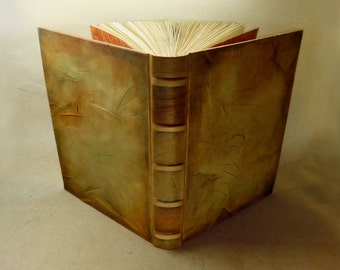 Large Leather Journal / Blank Book, Aged Leather with Parchment Paper