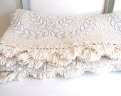 Vintage King Size Matelasse Bedspread Ivory and Blue Laurel Leaf Design with Fringe